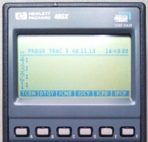 HP48GX menu TRAC