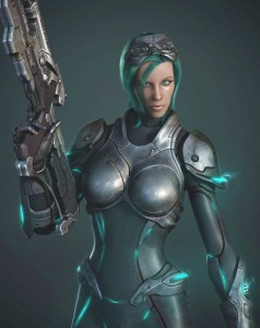 1015x1277_13657_Starcraft_Ghost_green_3d_sci_fi_character_girl_woman_soldier_picture_image_digital_art