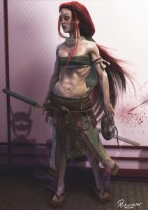 1132x1600_7905_Marise_3d_illustration_red_hair_girl_woman_samurai_picture_image_digital_art
