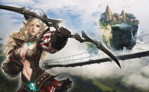 fantasy terra tera mmorpg sexy costume concept design anime dungeon seige and dragons character female bow arrow wallpaper warrior female white_hair_elf